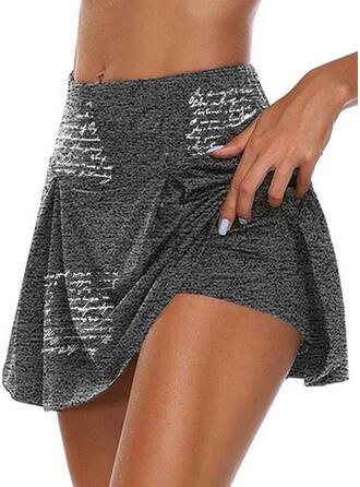 Impresión Carta Algodón Por encima de la rodilla Casual Tallas Grande shirred Pantalones Pantalones cortos