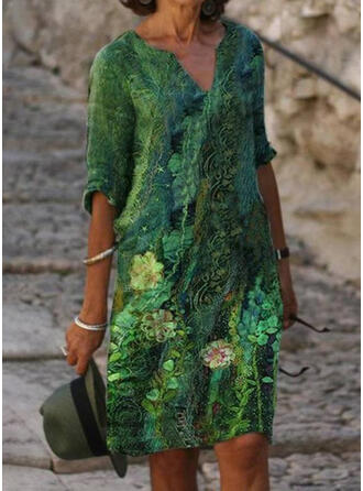 Impresión/Floral Mangas 1/2 Vestidos sueltos Hasta la Rodilla Casual Vestidos