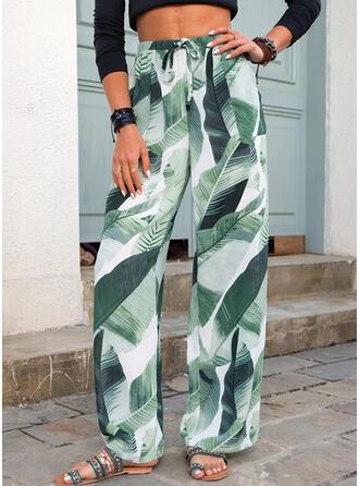 Impresión Hojas Largo Casual cordraystring Pantalones