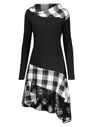 Tela escocesa Manga Larga Acampanado Asimétrico Casual Vestidos