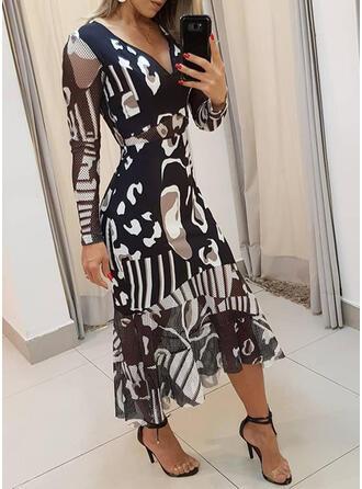 Nadrukowana Długie rękawy W kształcie litery A Łyżwiaż Elegancki Midi Sukienki