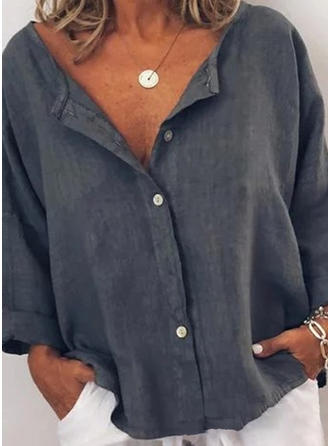 Sólido Cuello en V Manga Larga Con Botones Casual Blusas
