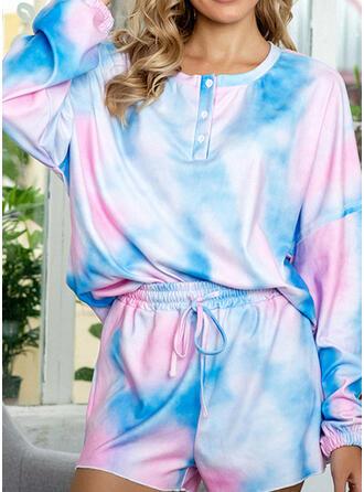 Poliéster Gola Redonda Manga Comprida Tie Dye Conjunto de pijama