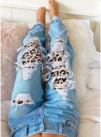 Extra stor storlek Rev Leopard Stam Årgång Denim & Jeans