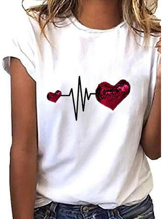 Impresión Cuello redondo Manga corta Casual Camisetas