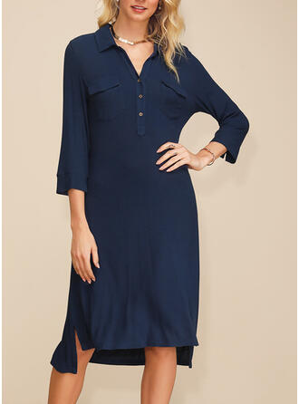 Solid 3/4 Sleeves Shift Asymmetrical Casual/Elegant Dresses