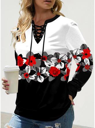 Print Color Block Floral V-Neck Long Sleeves Sweatshirt
