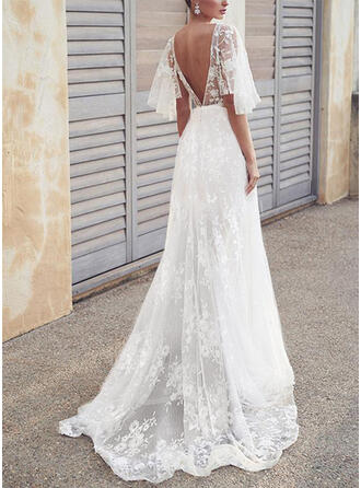 Lace/Solid/Backless 1/2 Sleeves A-line Skater Elegant Maxi Dresses