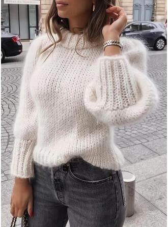 Jednolity Wycięcie pod szyją Casual Swetry