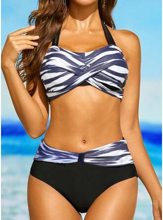 Stripe Splice farge V-hals Stroppeløs Sport Pluss størrelse Avslappet Bikinier Badedrakter