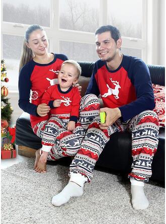 Ren Färg Blocket Matchande familj Jul Pyjamas