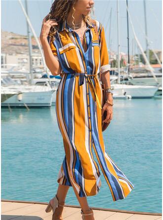 Stripe V-Neck Vintage Fresh Cover-ups Swimsuits