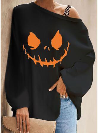 Halloween 印刷 ヒョウ ワンショルダー 長袖 バットスリーブ カジュアル ブラウス