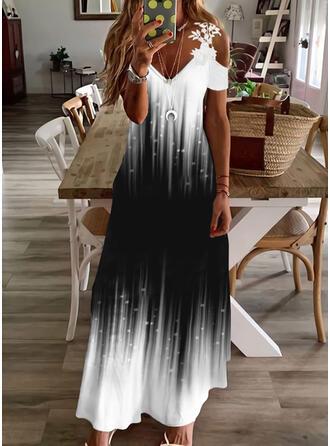 印刷/勾配 レース 半袖 冷たい肩の袖 シフトドレス カジュアル/休暇 マキシ ドレス