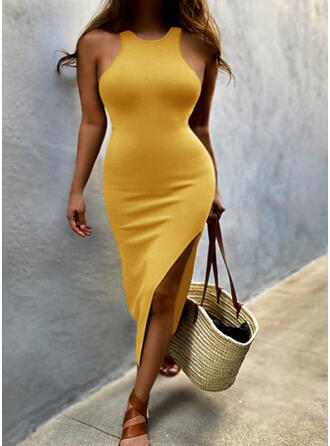 Solid Sleeveless Sheath Casual Midi Dresses