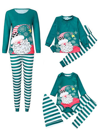Santa claus Raya Familia a juego Pijamas De Navidad