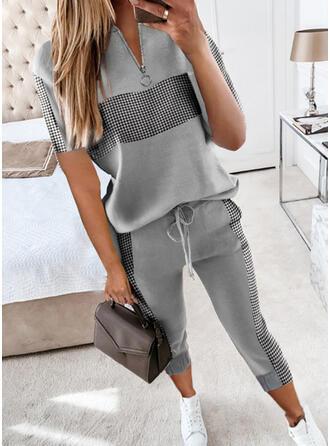 Pläd Fritids Extra stor storlek blus & Byxor Tvådelade kläder uppsättning