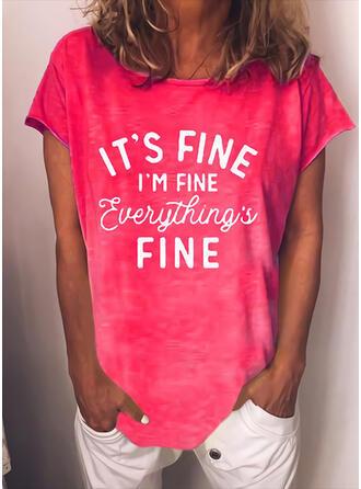 Figur Print Rund-ringning Korta ärmar T-tröjor