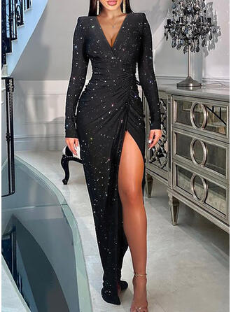 Print Long Sleeves Puff Sleeve Sheath Party Maxi Dresses