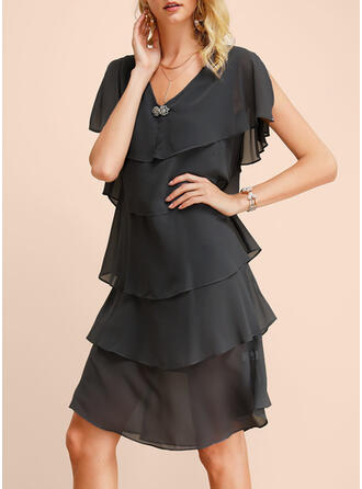 Solid Short Sleeves Shift Knee Length Casual/Elegant Dresses