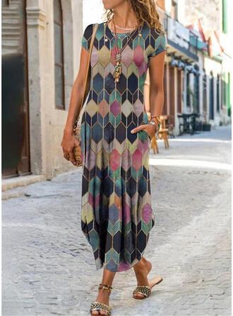 Impresión/Geométrico Manga Corta Vestidos sueltos Casual Midi Vestidos