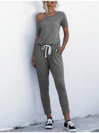 Solid One-Shoulder Korte ærmer Casual jumpsuit