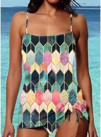 Color Block Rem Vintage Fritids Tankinis Badkläder