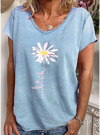 Impresión Floral Cuello en V Manga corta Casual Camisetas