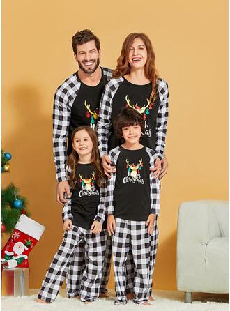 Ren Pläd Brev Matchande familj Jul Pyjamas