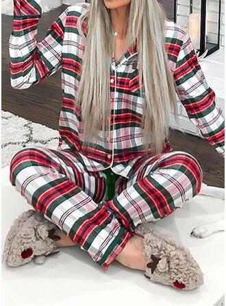 Poliéster Manga Comprida Natal Grelha Conjunto de pijama