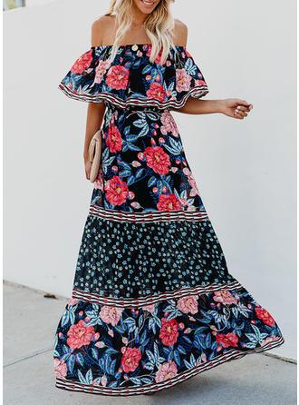Impresión/Floral Mangas 1/2 Acampanado Casual/Bohemio/Vacaciones Maxi Vestidos