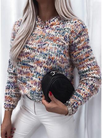 印刷 クルーネック カジュアル セーター