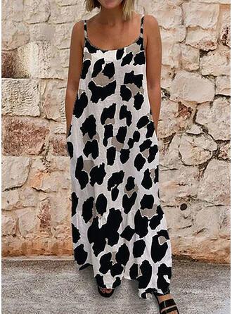 Leopardo Sin mangas Tendencia Sexy/Casual Maxi Vestidos