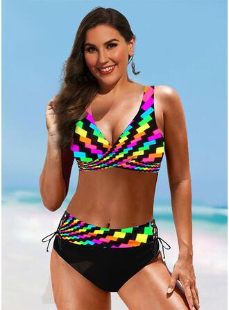 Cintura Alta Color de Empalme Correa Cuello en V Antiguo Talla extra Bikinis Trajes de baño