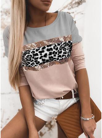 Trozos de color Leopardo Lentejuelas Cuello Redondo Manga Larga Camisetas