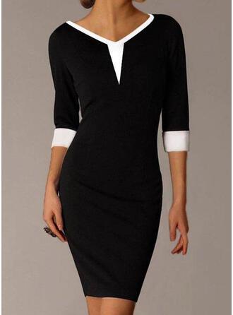 Colorblock 3/4-es ujjú Testre simuló ruhák Térd feletti Kis fekete/Elegáns φορέματα