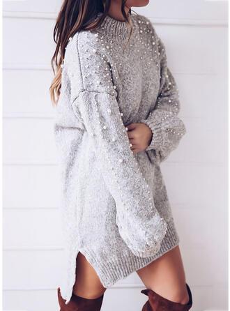 Solido In rilievo Girocollo Casual Lungo Abito maglione