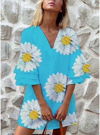 Impresión/Floral Mangas 3/4 Tendencia Sobre la Rodilla Casual Vestidos