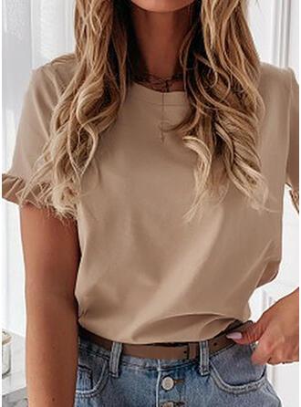 Solid Rund-ringning Korta ärmar T-tröjor