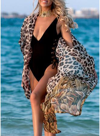Leopard Tryck V-ringning Sexig Vacker Strandklänningar Badkläder