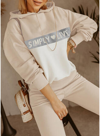 Hjerte Bogstav Print Casual Plus størrelse sweatshirts & 2-delt tøj sæt