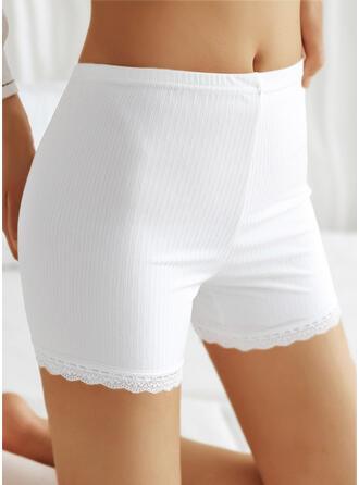 Sólido Encaje Casual Pantalones Pantalones cortos Polainas