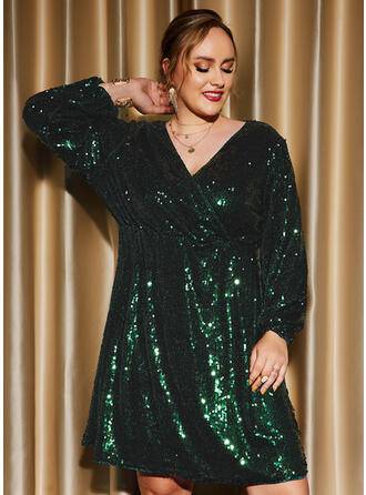 Solid Sequins Long Sleeves Lantern Sleeve Shift Knee Length Party/Plus Size Dresses