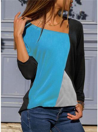 Bloque de color Cuello en V Manga Larga Casual camiseta