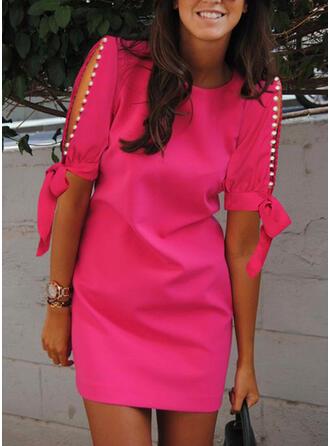 Solid/Beaded 1/2 Sleeves/Split Sleeve Sheath Above Knee Elegant Dresses