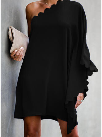 Solid Long Sleeves/Batwing Sleeves Shift Above Knee Little Black/Party Dresses