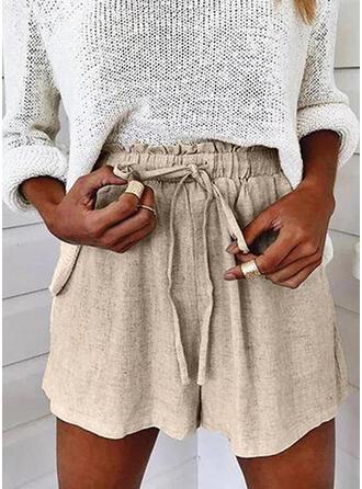 Sólido Por encima de la rodilla Casual Tallas Grande Bolsillo cordraystring Pantalones Pantalones cortos