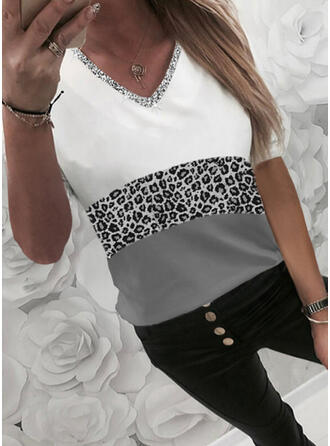 Color Block Leopard Sequins V-Neck 1/2 Sleeves T-shirts
