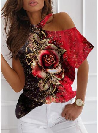 Tisk Color Block Květiny Jedno rameno Krátké rukávy Neformální Blůzy