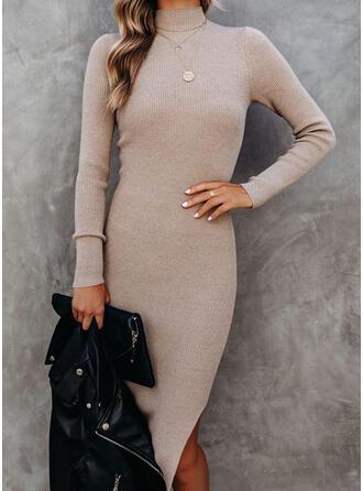 固体 Knit 長袖 シースドレス 膝丈 カジュアル セーター ドレス